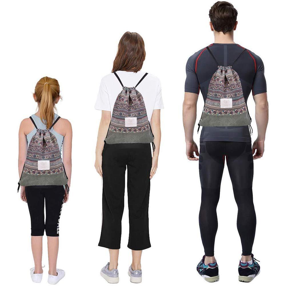 para Gimnasio Deporte Yoga BESLIME Mochila con Cord/ón Mochila de Cuerda de Lona,Lona con Cord/ón Bolso Viajar Mochilas Casual Unisex