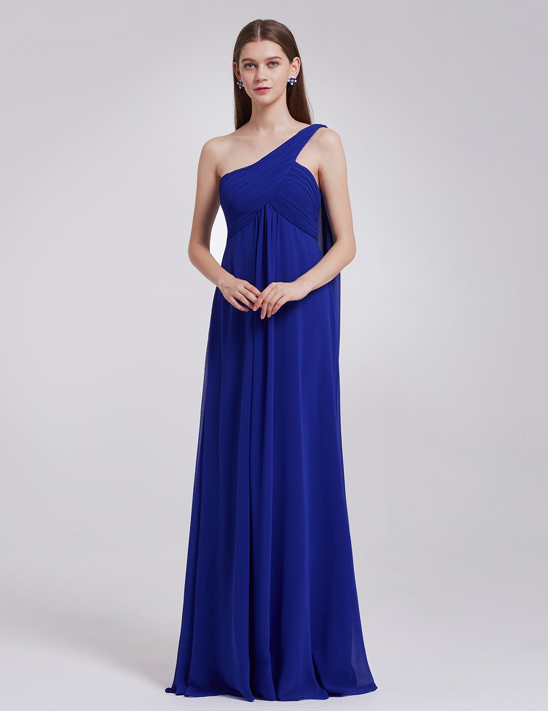 Ever-Pretty Womens Elegant One Shoulder Trailing Evening Dress 14 US Sapphire Blue