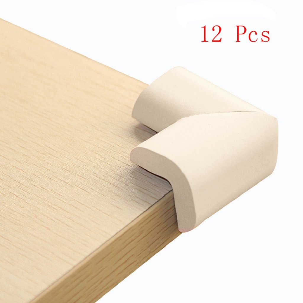 Corners Baby Proofing Cushion Guard Set 12Pcs Baby Safety Protector Furniture Corner Edge Safety Bumpers (Beige)