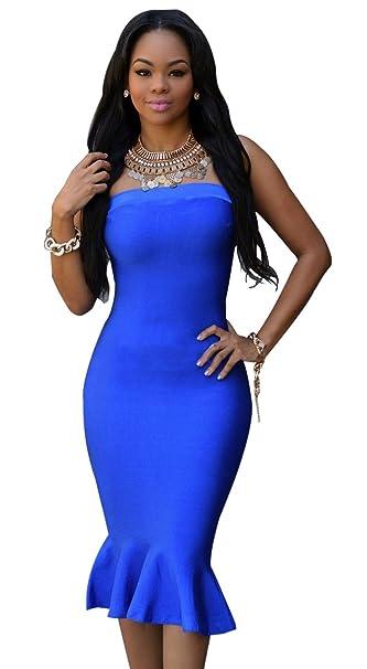 07949587cd47c Kearia Womens Elegant Wrap off Shoulder Back Zipper Bodycon Clubwear Party Midi  Dress Blue Small