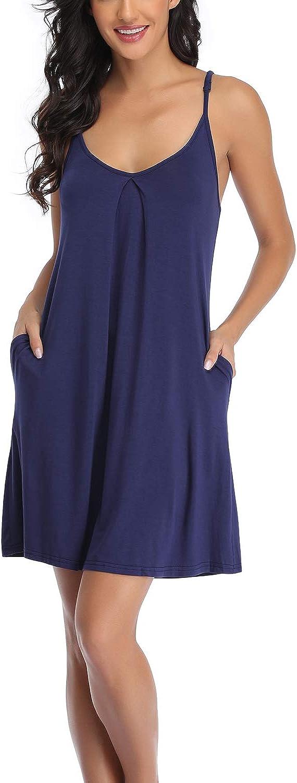 EVELIFE Camison Mujer Algodon Ropa de Dormir Casual Camis/ón sin Mangas Camisa de Dormir Botones Loungewear T-Shirt Vestido Camis/ón Corto