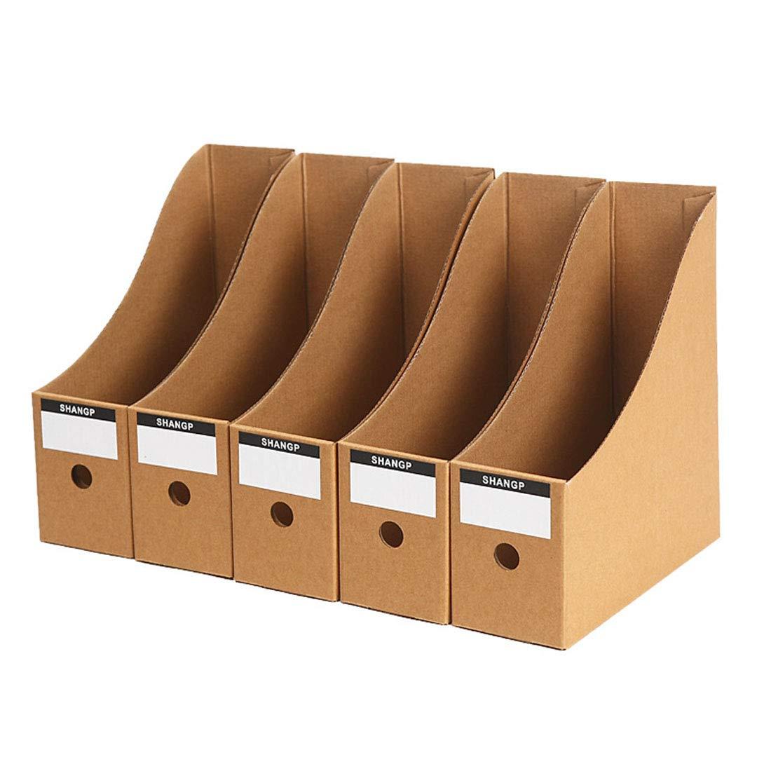 方朝日スポーツ用品店 5フォルダファイル統合ボックスストレージブックシェルフフォルダボックスオフィスクラフトペーパーデスクトップストレージボックスデータバスケット (Color : Paper)  Paper B07Q3R1W8H