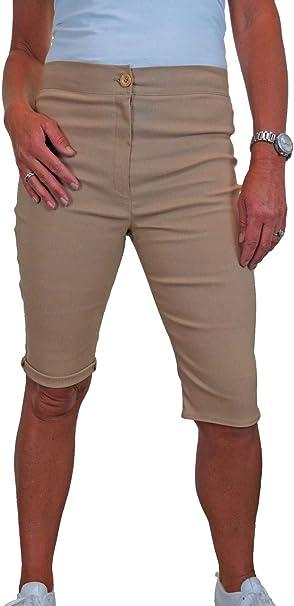 Lunghezza al Ginocchio 40-54 icecoolfashion Pantaloncini Capri Elasticizzati A Vita Alta da Donna