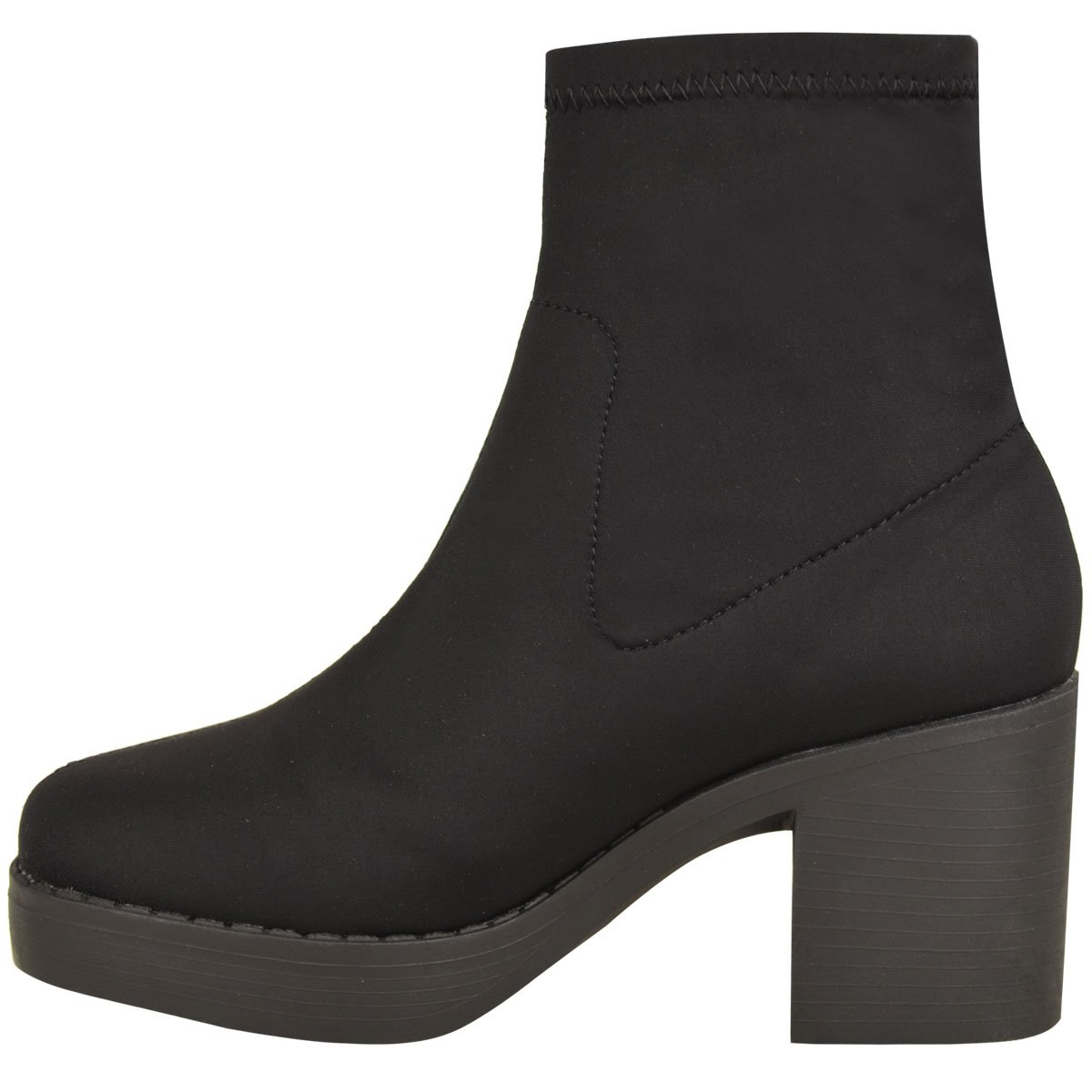 Fashion Thirsty Womens Chunky Low Block Heel Stretch Lycra Ankle Boots Work School Size