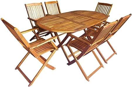 Estink Conjunto Muebles Jardín, 7 Piezas Conjunto de Muebles de Madera de Acacia para Comer al Aire Libre en el Jardín o el Patio, Diseño Plegable, Incluye 1 Mesa y 6 Sillas: