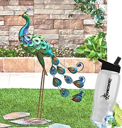 Gift Included- Outdoor Garden Multicolored Shimmering Metallic Bird Yard Sculpture Decor + FREE Bonus Water Bottle by Homecricket (Shimmering Decor)
