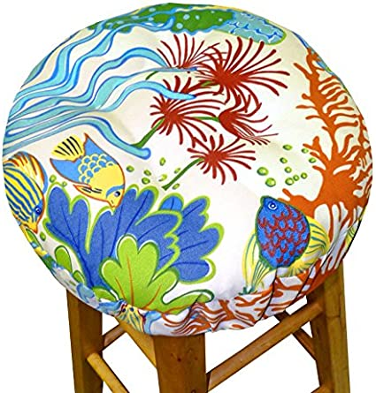 Indoor Outdoor Barstool Cover With Adjustable Drawstring Yoke And Latex Foam Cushion Fade Resistant Water Safe Stain Resistant Made In Usa Round 12 13 14 Splish Splash Standard Kitchen Dining Amazon Com