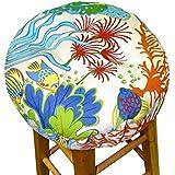 "13"" Round Indoor / Outdoor Barstool Cushion with Drawstring Yoke - Splish Splash Sea Life Print - Latex Fill Bar Stool Pad - Tropical Fish, Coral - Made in USA (Tropical Reef Multi, 13"" Round)"