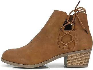 5d728454c8da Steven Ella Women s Holly Ankle Bootie Criss Cross Faux Leather Flat Heel  Zipper