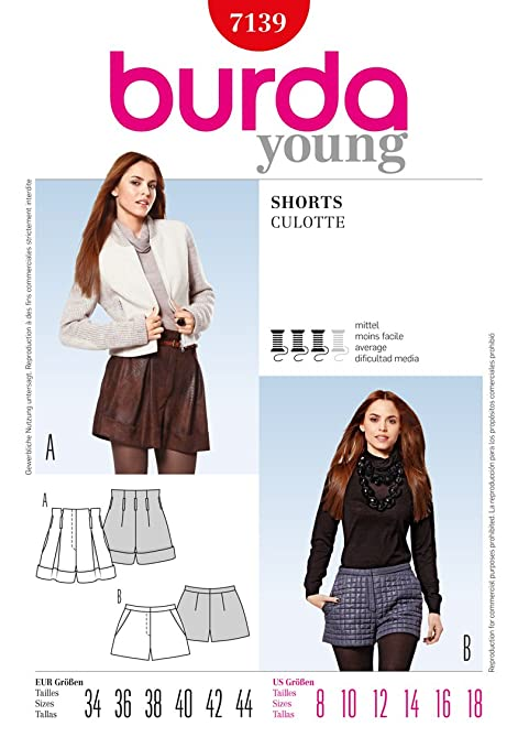 Burda Ladies Young Fashion Sewing Pattern 7139 - Shorts Sizes: 8-18 ...