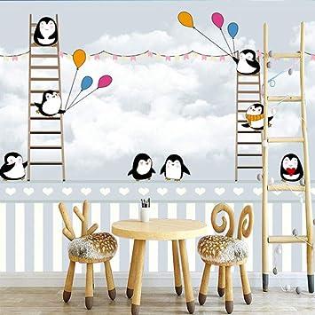 fondo de pantalla 3dDibujos animados en 3D personalizado pingüino antártico escalera fondo papel pintado habitación infantil papel pintado decoración niño habitación tela de pared(430x300cm): Amazon.es: Bricolaje y herramientas