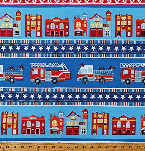 - Cotton Fire Trucks Engines Firetrucks Emergency Vehicles Fire Stations Firefighters Firehouse Village Stripe (4 Parallel Stripes) Blue Cotton Fabric Print by The Yard (D681.12)
