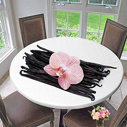 PINAFORE HOME Picnic Circle Table Cloths Vanilla Sticks with Beauty Orchid Flower Herbs and Spices for Family Dinners or Gatherings 50
