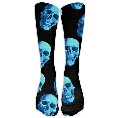 guolinadeou Long Dress Socks Over-the-Calf Tube Compression Socks Blue Skulls Training Football Athletic Sports Socks 50cm: Ropa y accesorios