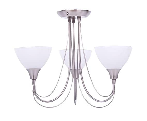 a86201f714aa Image Unavailable. Image not available for. Colour: Opus Brushed Chrome &  Frosted Glass 3 Arm Semi Flush Ceiling Light Fitting ...