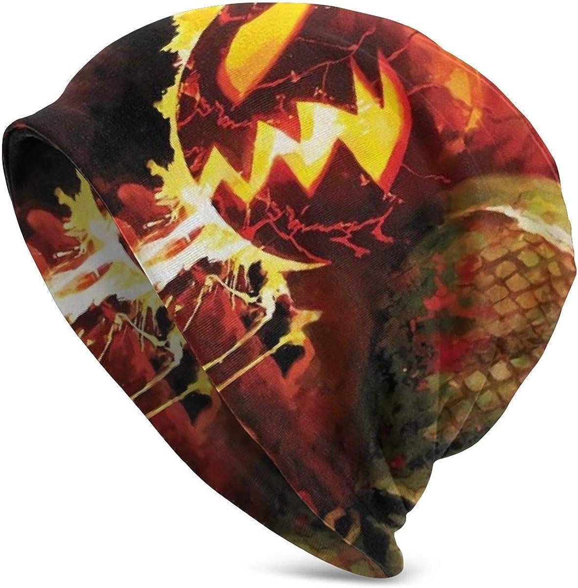 Pumpkin Ghost Rider Skull Unisex Men Women Baggy Soft Slouchy Beanie Hat Summer Winter Skull Cap Hip-hop Knit Ski Hat Black