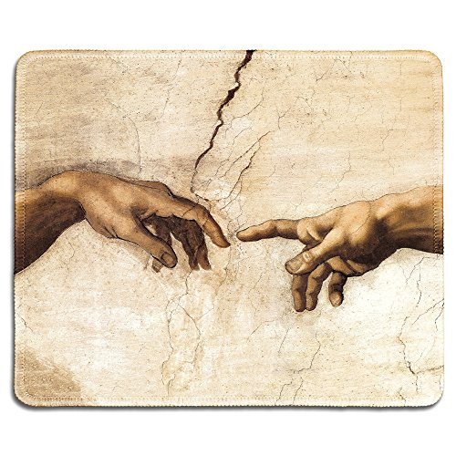 - dealzEpic - Art Mousepad - Natural Rubber Mouse Pad with Famous Fine Art Painting of Creation of Adam (Detail) by Michelangelo - Stitched Edges - 9.5x7.9 inches