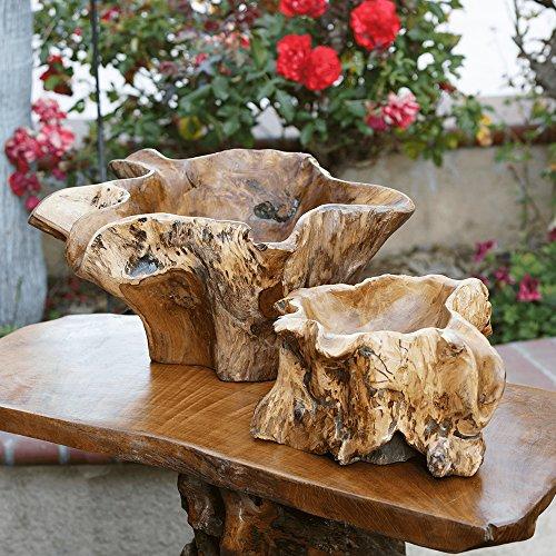 Natural Teak Erosion Wood Planter Pots (Small)
