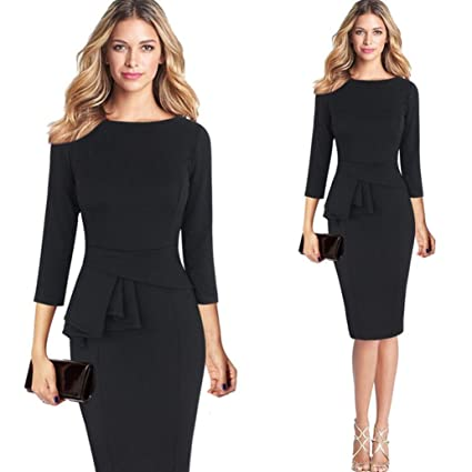 d5c8ead895 Snowfoller Women Elegant Office Dress, Fashion Ladies 3/4 Gown Sleeve  O-Neck Work Business Party Sheath Pencil Dress