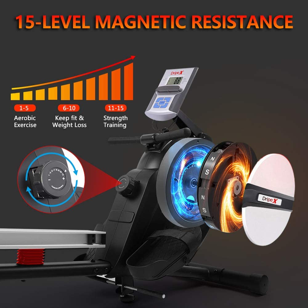 Dripex Magnetic Rowing Machine - 15 level magnetic resistance