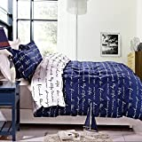 NTBAY 3 Pieces Blue Reversible Printed Microfiber Duvet Cover Set with Hidden Button(King, Blue)