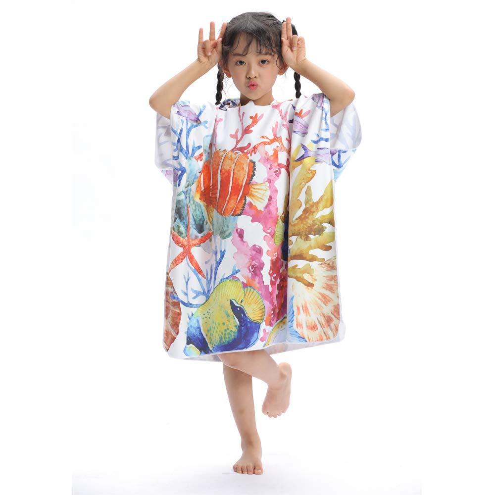 MLADEN Microfiber Beach Towel for Kids Hooded Bath Towel Quick Dry Poncho Towel for Swim Pool 6-10 Year Old Bath Robe (Damselfish)