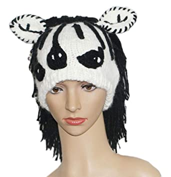 89b972ed9ac BIBITIME Handmade Knit Stripes Zebra Hat with Ears Black Hair Wig Adult Kid Cap  at Amazon Women s Clothing store