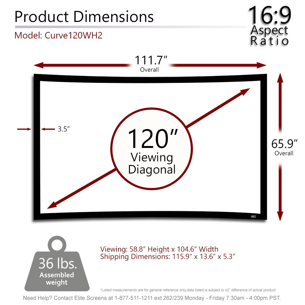 amazon com elite screens lunette 2 series 120 inch diagonal 16 9 amazon com elite screens lunette 2 series 120 inch diagonal 16 9 curved home theater fixed frame projector screen curve120wh2 home audio theater