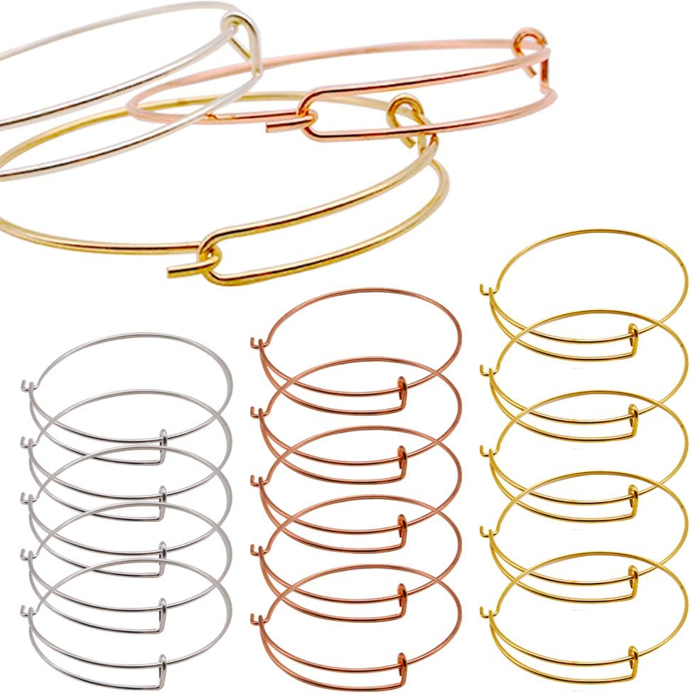 Bangle Bracelet, Adjustable Wire Bracelet Jewelry Findings Bulk Chain for Jewelry Making Chains,Great Gift on Thanksgiving Day and Chiristmas(Silver, Gold and Rose Gold),15PCS