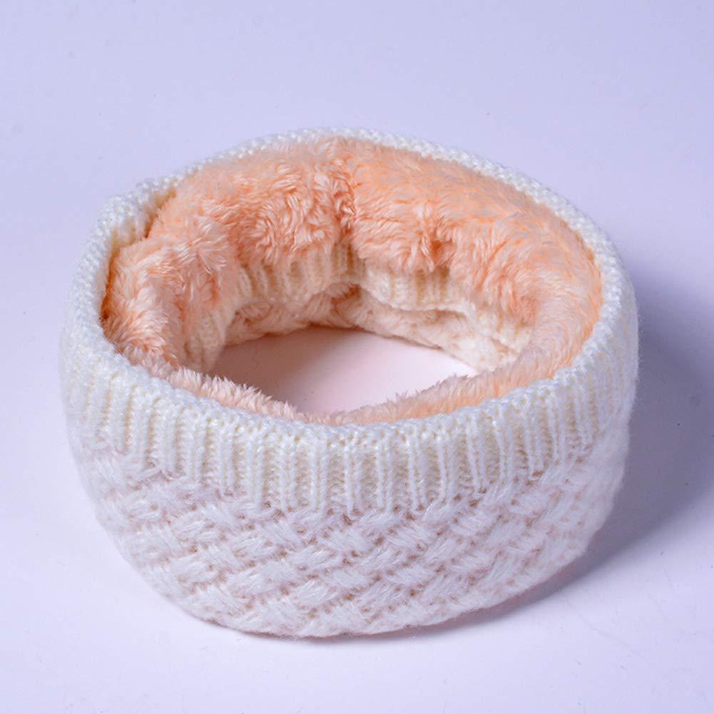 Tofree cerchio lavorato a maglia sciarpa invernale calda coppia sciarpa in pile velluto a due piani sciarpa scaldacollo Cozy Neckerchiefs collo Warme bianco White