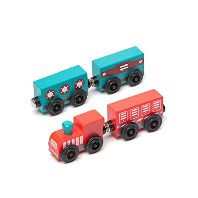 umu Wooden Train Set for Toddlers Magnetic Toys for Kids Compatible to Thomas Train Toys Railway and Major Brands, 4 PCS Kids Toys for 3 to 5 Year Old Boys: Toys & Games