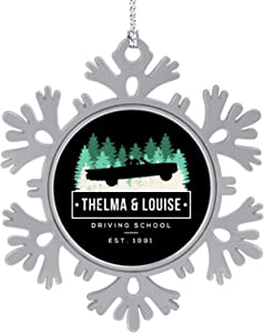 iToonify Thelma and Louise Driving School Christmas Hanging Snowflake Alloy Decorations,Christmas Souvenirs, Personalized Holiday Decorations.