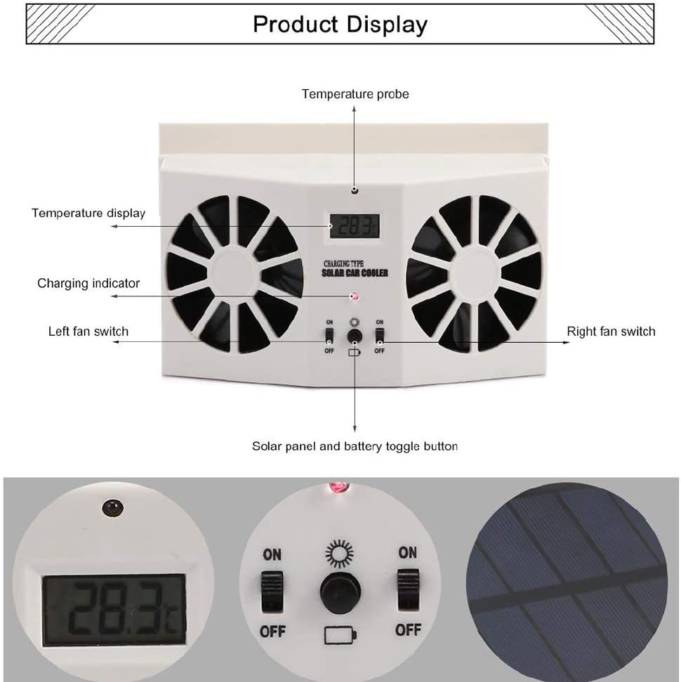 RONSHIN Car Solar Energy Air Exhaust Fan Energy-Saving Cooling Fans Universal Use