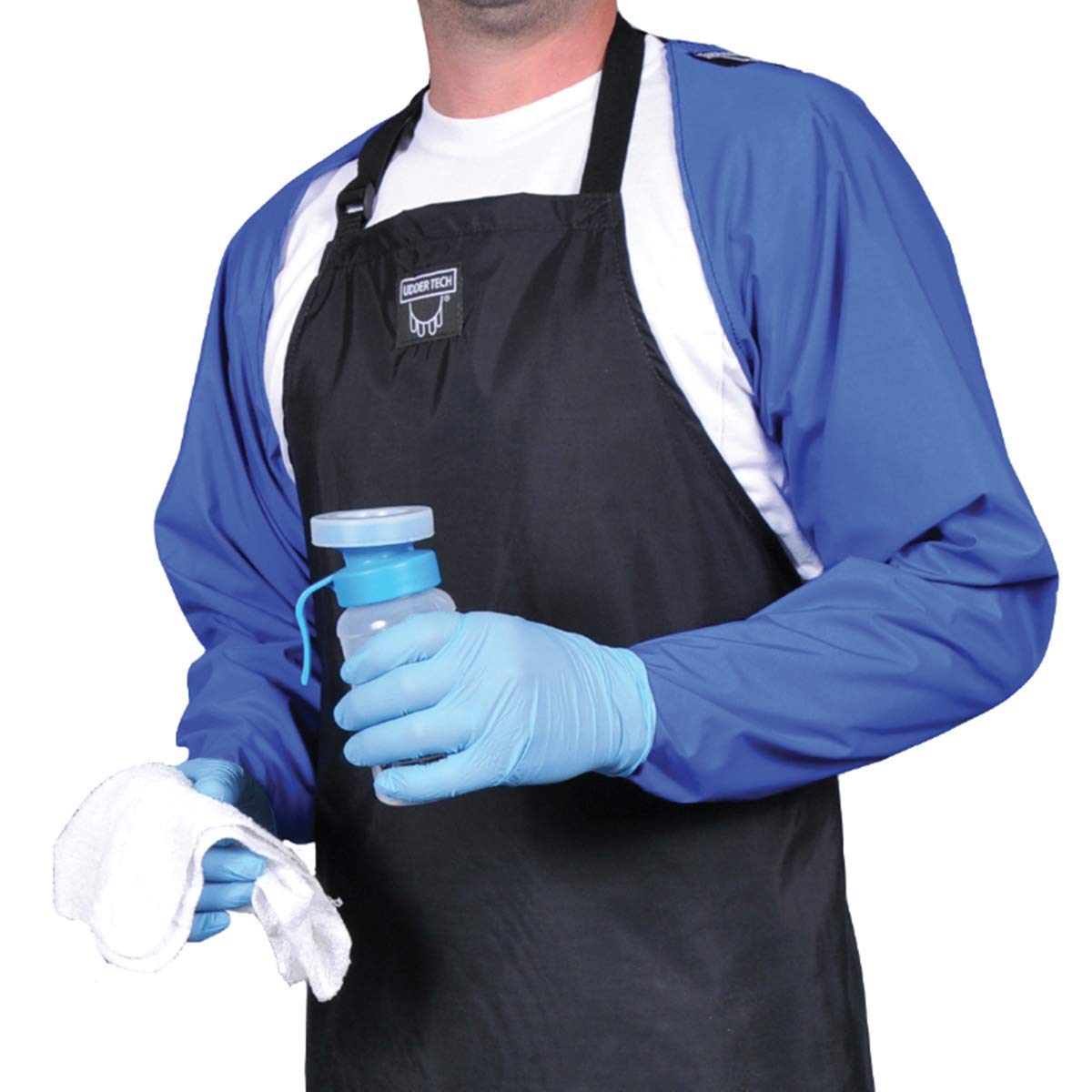 Waterproof Milking Sleeve Duo with Thumb Hole, Regular, Blue by Udder Tech