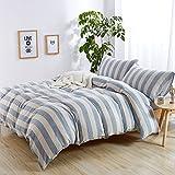 MKXI Modern Duvet Cover Blue Stripes Pattern Jacquard Cozy Cotton Bedding Set Queen