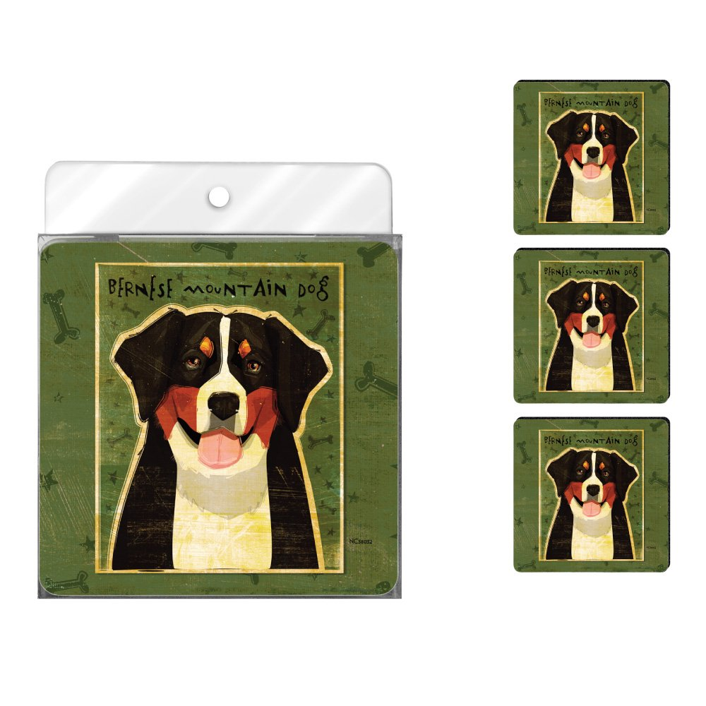 Tree-Free Greetings NC38032 John W. Golden 4-Pack Artful Coaster Set, Bernese Mountain Dog