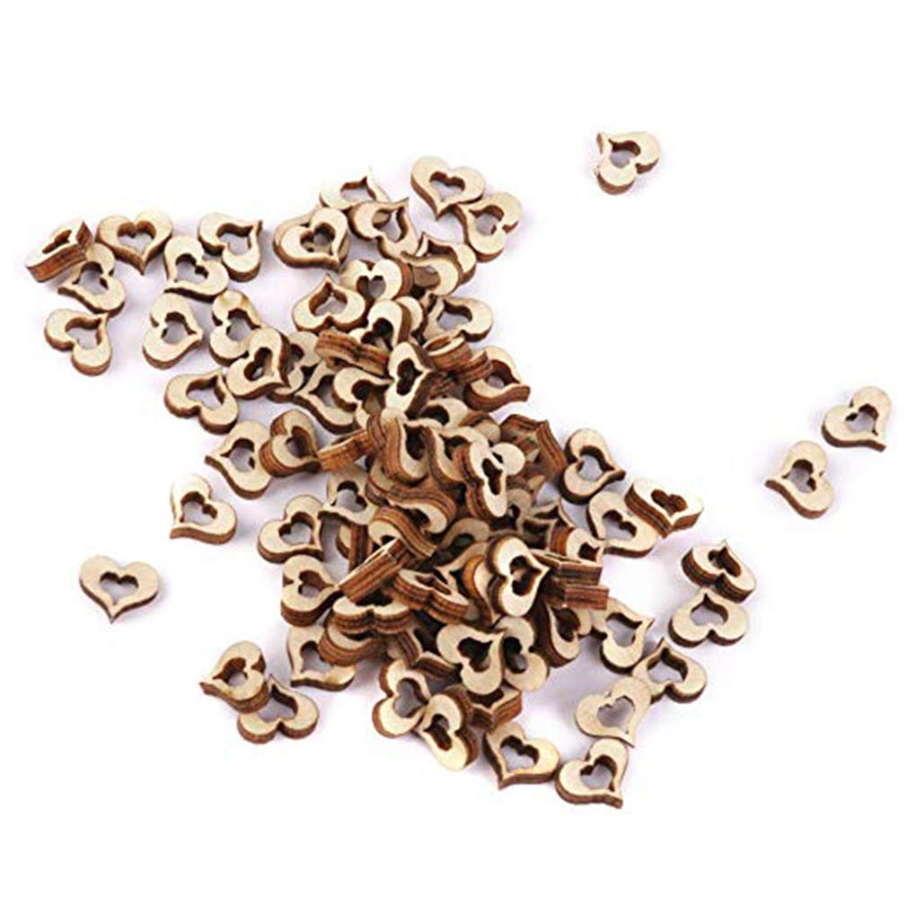 OmkuwlQ 100pcs Heart Shape Wooden Chip Wedding Photo Shooting Prop Decorations Eco-Friendly Ornament by OmkuwlQ (Image #2)