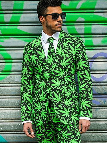 OppoSuits Men's Cannaboss Party Costume Suit, Black/Green, 52 by OppoSuits (Image #4)