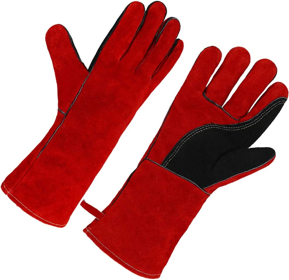 OLSONDEEPAK Welding Gloves with Kevlar Stitching, Genuine Leather Extreme Heat Resistant Glove for Fireplace, Stove,Oven,Grill, BBQ, Mig, Pot Holder, Animal Handling (Red)