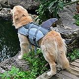Ezeso Dog Life Jacket Floatation Vest Fish Style Safety Dog Swimming Pool Preserver Vest Life Jacket (M, Gray shark style)