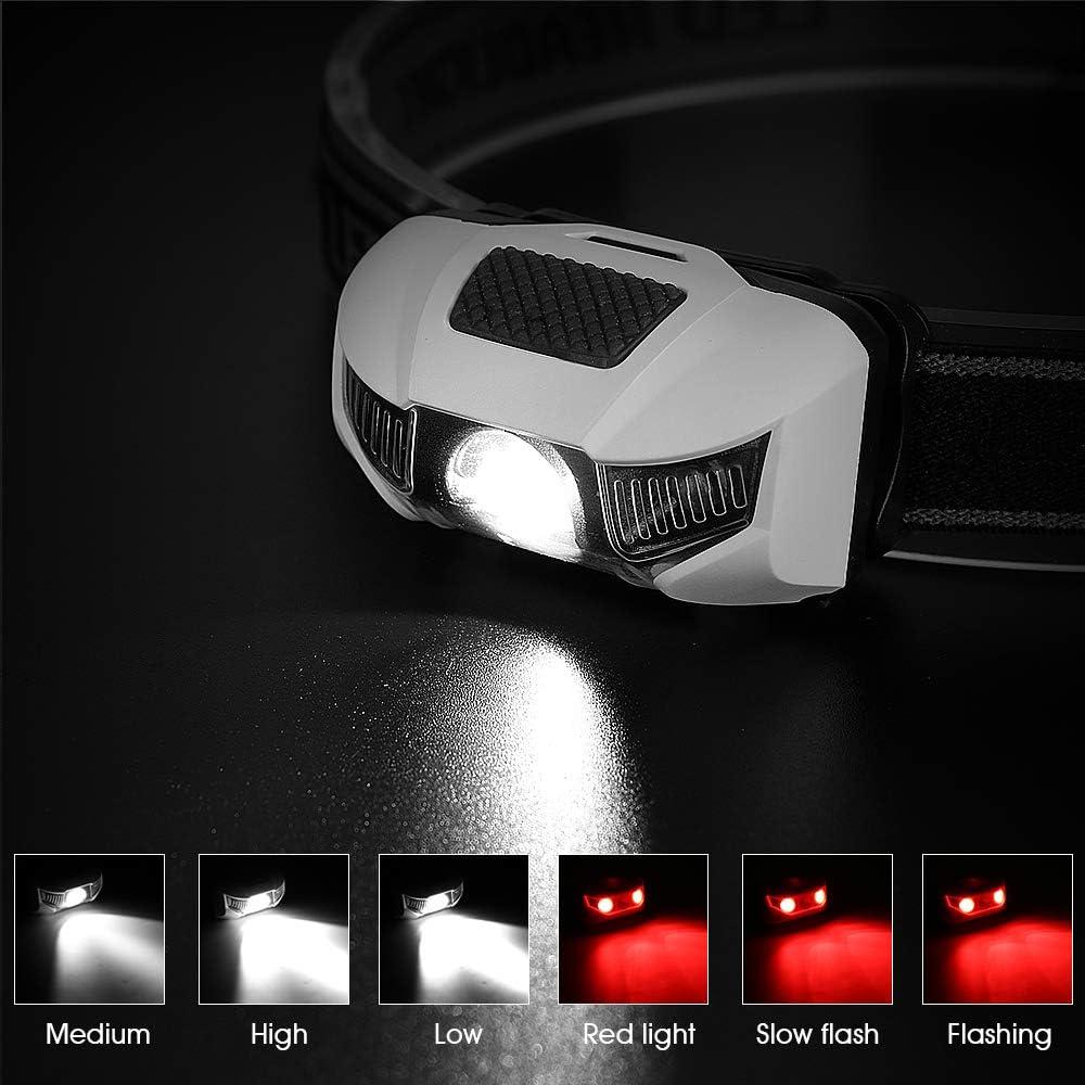 Nicht im Lieferumfang enthalten Gaocunh LED-Stirnlampe Stirnlampe Taschenlampe Taschenlampe Taschenlampe 6 Leuchtmodi 2 x AAA Batterien elastisches Stirnband 130 Lumen IPX4 wasserdicht