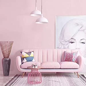 Pink Peel and Stick Wallpaper Decorative Bedroom Contact Paper Vinyl Removable Self Adhesive Wallpaper Liner Drawer Liner Pink Vinyl Film Roll 17.7