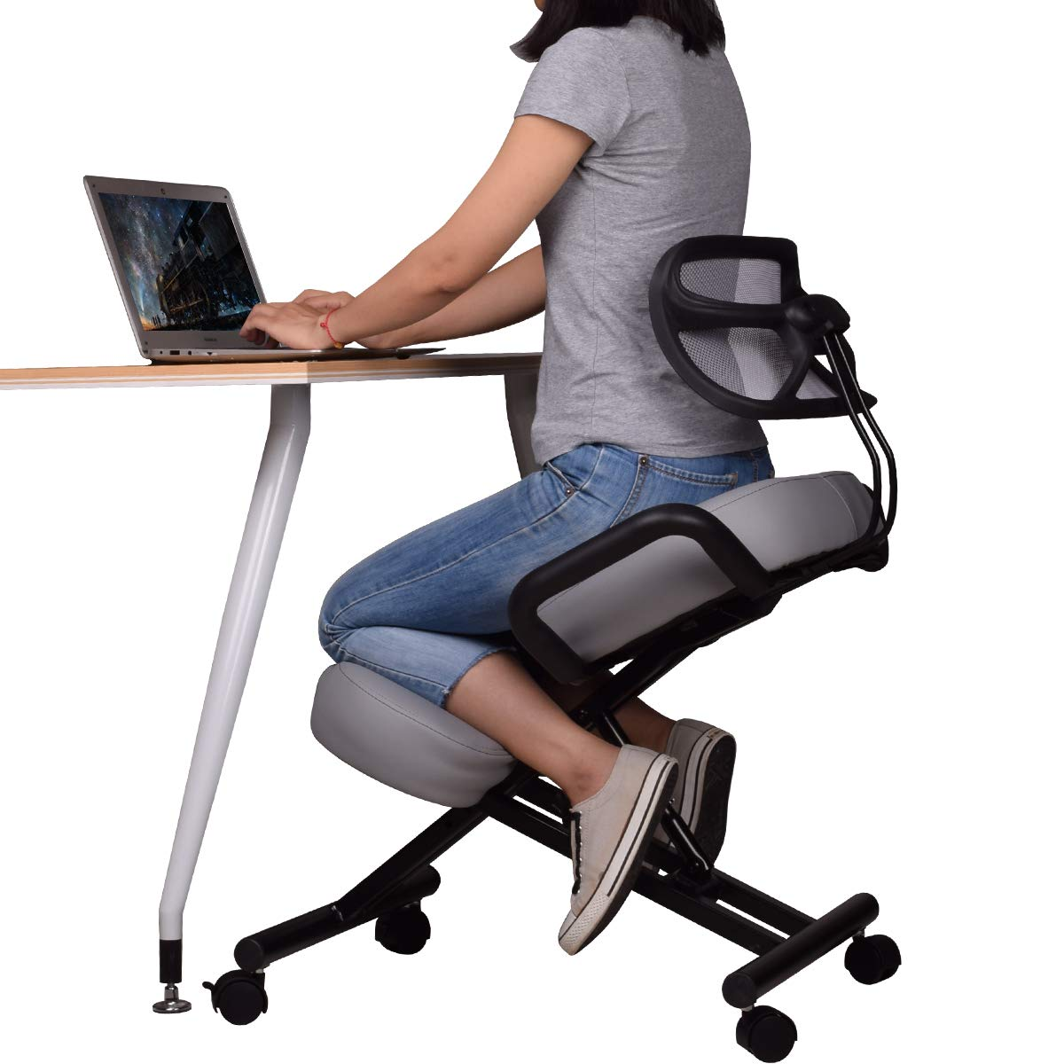 Ergonomic Kneeling Chair with Back Support, Adjustable Stool for Home and Office - Improve Your Posture with an Angled Seat - Thick Comfortable Cushions - Gray ... by Dragonn Enterprises