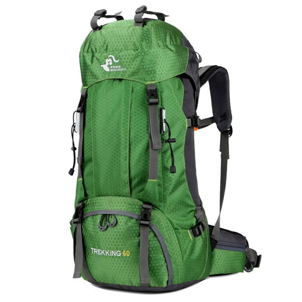 XJ05 登山用バックパック 大容量 防水 60L 登山用バッグ 軽量旅行用バックパック 耐摩耗性 防水 登山 キャンプ ギアバッグ レインカバー付き  グリーン B07KPK36B5