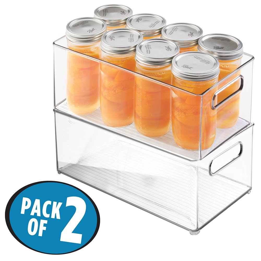 mDesign Refrigerator, Freezer, Pantry Cabinet Organizer Bins for Kitchen - 8'' x 6'' x 14.5'', Pack of 2, Clear