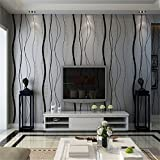 Modern Simple Black&Gray Natural Textured 3D Non-woven Wallpaper Roll Living room Bedroom Home TV background Decor