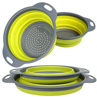 Collapsible Colander and Strainer Set, YHXK Food Grade Silicone Folding Kitchen Vegetable Basket-11.5  and 9.7  Size with Base & Handle, BPA Free, Dishwasher-Safe for Draining Pasta, Veggies, Fruit