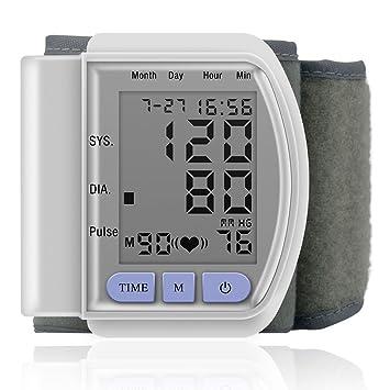 Monitor De Presión Arterial En La Muñeca - BP Completamente Automático Con Monitorización Irregular Del Ritmo Cardíaco, Muñequera Ajustable Y Estuche ...