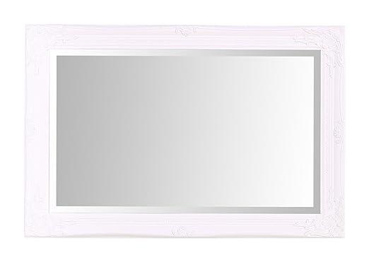 Espejos seleccionados Rhone Espejo de pared grande - Estilo barroco antiguo - Madera maciza - Acabado a mano - Blanco mate - 60 cm x 90 cm