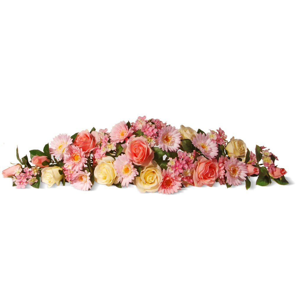 National Tree 33 Inch Floral Swag with Pink Roses, Daisies and Hydrangea Flowers (RAS-550502PK-1)